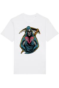 Tricou ADLER copil Grim reaper holding heart Alb