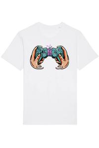 Tricou ADLER copil Game controller PS4 Alb