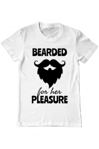 Tricou ADLER copil Bearded for her pleasure Alb