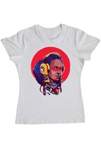 Tricou ADLER copil Afro Girl Alb