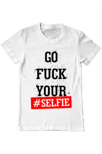 Tricou ADLER copil Go fuck your selfie Alb
