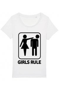 Tricou ADLER barbat Girls rule Alb