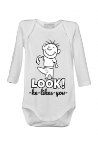 Tricou ADLER copil He likes you Alb