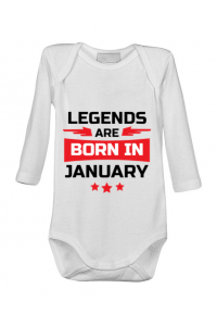 Tricou ADLER copil Legends are born in January Alb