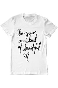 Sacosa din panza Be your own kind of beautiful Alb