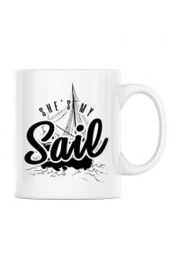 Tricou ADLER dama She s my sail Alb