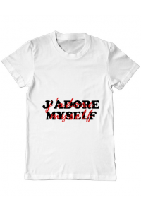 Tricou ADLER copil I love myself Alb