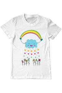 Sacosa din panza Love rain Alb