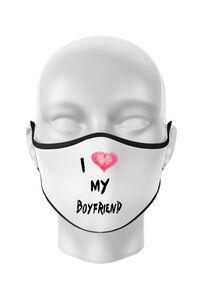 Hoodie barbat cu gluga I love my boyfriend Alb