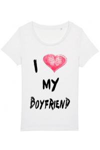 Sapca personalizata I love my boyfriend Alb