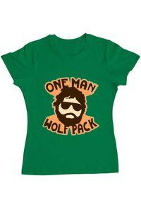 Tricou ADLER barbat One man wolf pack Verde mediu