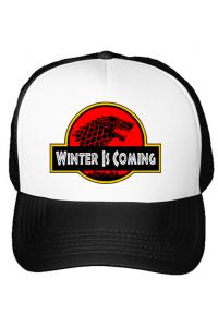 Hoodie barbat cu gluga Jurassic winter Alb