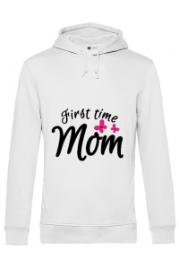 Tricou ADLER dama First time mom Alb