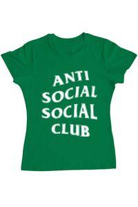 Tricou ADLER barbat Anti social Verde mediu