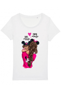 Tricou ADLER copil Mama and baby Mouse Alb