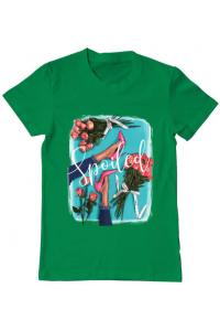 Tricou ADLER dama High Heels and roses Verde mediu