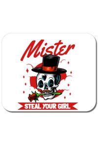 Tricou ADLER dama Mr. steal your girl Alb