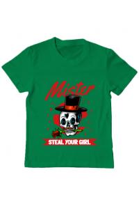 Tricou ADLER barbat Mr. steal your girl Verde mediu