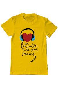 Sacosa din panza Listen to your heart Galben