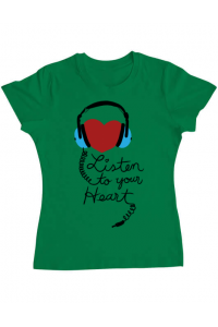 Tricou ADLER copil Listen to your heart Verde mediu