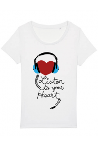 Hoodie barbat cu gluga Listen to your heart Alb