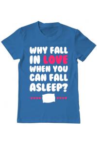 Tricou ADLER dama Why fall in love Albastru azuriu