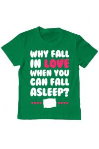 Tricou ADLER barbat Why fall in love Verde mediu