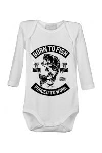 Tricou ADLER copil Born To Fish Alb