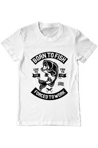Cana personalizata Born To Fish Alb