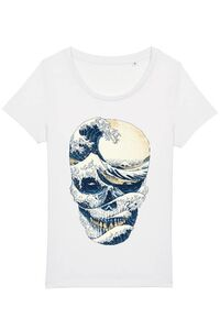 Tricou ADLER copil The Great Wave off Skull Alb