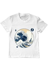 Sacosa din panza The Great Wave off Sound Alb
