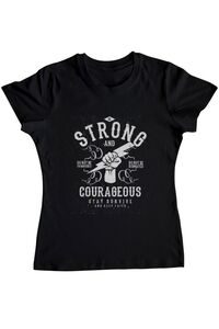 Tricou ADLER copil Be Strong and Courageous Negru