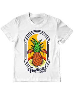 Tricou ADLER copil Tropical vibes Alb
