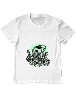 Tricou ADLER copil Space Robot Alb