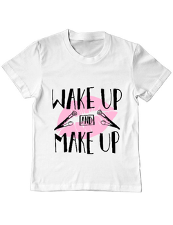 Tricou ADLER copil Wake up and make up Alb