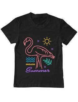 Tricou ADLER copil Flamingo endless summer Negru