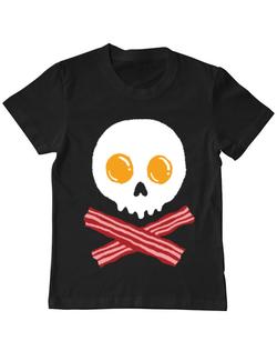 Tricou ADLER copil Breakfast skull Negru