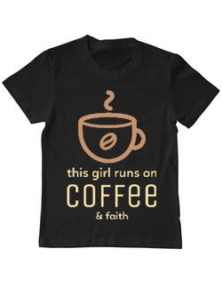 Tricou ADLER copil Coffee & Faith Negru