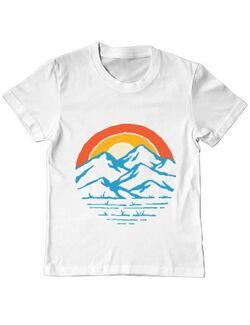 Tricou ADLER copil Mountain and rainbow Alb