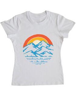 Tricou ADLER dama Mountain and rainbow Alb