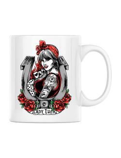 Cana personalizata Lady luck Alb