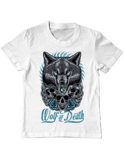 Tricou ADLER copil Wolf of death Alb