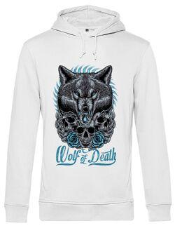 Hoodie barbat cu gluga Wolf of death Alb
