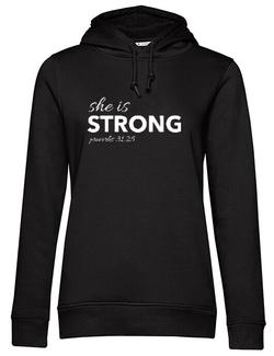 Hoodie dama cu gluga She is Strong Negru