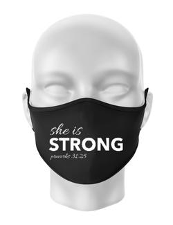 Masca personalizata reutilizabila She is Strong Negru