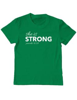 Tricou ADLER copil She is Strong Verde mediu