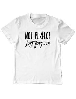 Tricou ADLER copil Not Perfect Just Forgiven Alb