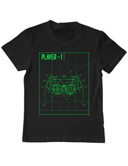 Tricou ADLER copil Player 1 Retro Gaming Negru