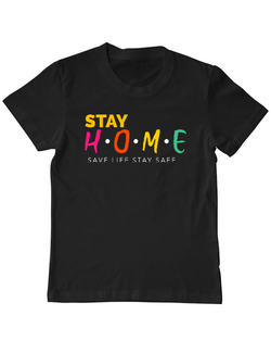 Tricou ADLER copil Stay Home Save Life Stay Safe Negru