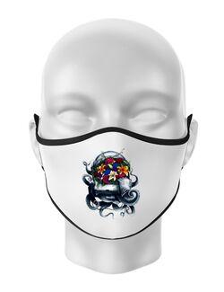 Masca personalizata reutilizabila Space bloom Alb